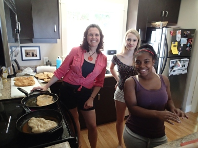 "Mrs Bateman cooks ""Beaver Tails"" with some Timmis Girls"